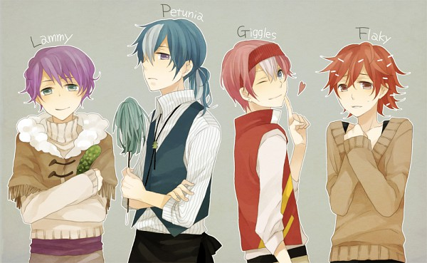 Tags: Anime, Kiri / 桐, Happy Tree Friends, Mr. Pickles, Giggles (HTF), Lammy, Petunia (HTF), Flaky, Cucumber, Fanart