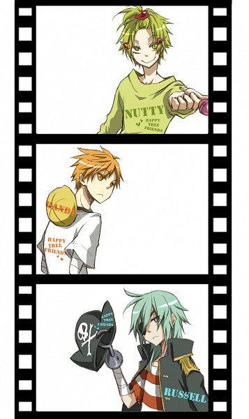 Tags: Anime, *Mihaya, Happy Tree Friends, Nutty, Russell, Handy, Hook (Hand), Filmstrip, Mobile Wallpaper