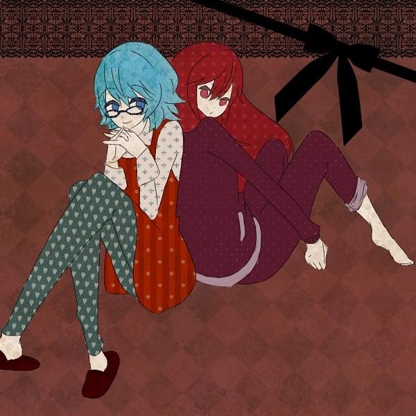 Tags: Anime, Happy Tree Friends, Splendid (HTF), Splendont, Sniffles (HTF), Heart Legwear, Heart Print, Pixiv, Fanart