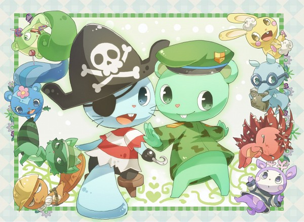 Tags: Anime, Yuu / 遊, Happy Tree Friends, Nutty, Sniffles (HTF), Petunia (HTF), Flaky, Cuddles (HTF), Mime (HTF), Shifty, Flippy, Handy, Russell