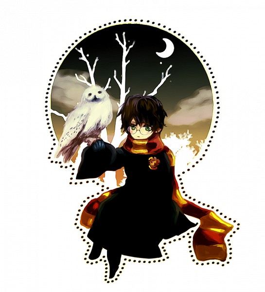 Tags: Anime, Harry Potter, Hedwig, Harry Potter (Character), Familiar (Mythology), Fanart From Pixiv, Fanart, Pixiv