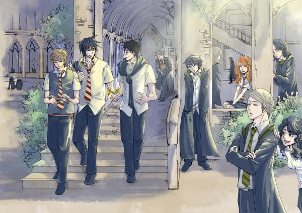 Tags: Anime, Pixiv Id 4334722, Harry Potter, Lily Evans, James Potter, Regulus Black, Remus Lupin, Peter Pettigrew, Sirius Black, Lucius Malfoy, Severus Snape, Bellatrix Lestrange, Hallway