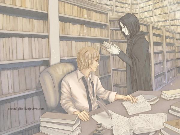 Tags: Anime, Lenap, Harry Potter, Remus Lupin, Severus Snape, Stack Of Books, Quill Pen, Writing, Fanart, Fanart From DeviantART, deviantART