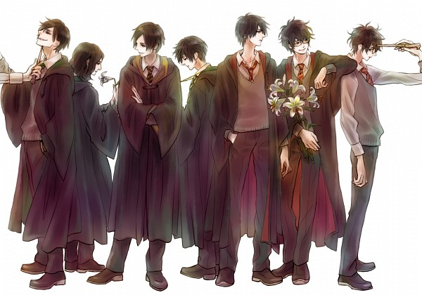 Tags: Anime, Pixiv Id 8269746, Harry Potter, Cedric Diggory, Tom Marvolo Riddle, Regulus Black, Harry Potter (Character), James Potter, Sirius Black, Severus Snape, Aiming At Another, Fanart, Hufflepuff House