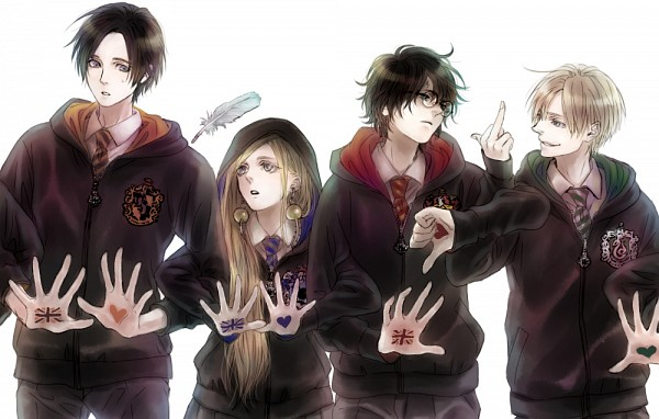 Tags: Anime, Pixiv Id 8269746, Harry Potter, Draco Malfoy, Harry Potter (Character), Luna Lovegood, Cedric Diggory, Thumbs Down, Fanart, Gryffindor House, Slytherin House, Ravenclaw House, Hufflepuff House