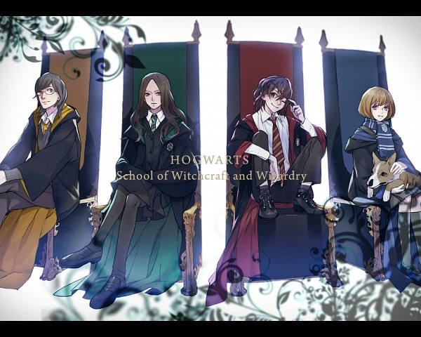 Tags: Anime, Nishihara Isao, Harry Potter, James Sirius Potter, Lily Luna Potter, Albus Severus Potter, Rose Weasley, Sitting On Throne, Cousins, Corgi, PNG Conversion, Slytherin House, Ravenclaw House
