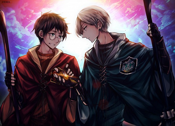 Tags: Anime, Dessa-nya, Harry Potter, Draco Malfoy, Harry Potter (Character), Quidditch, Holding Broom, Quidditch Uniform, Emblem, Snitch, Fanart, Fanart From DeviantART, deviantART