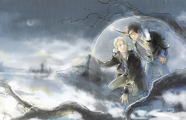 Tags: Anime, Woshibbdou, Harry Potter, Draco Malfoy, Harry Potter (Character), 14:9 Ratio, 1400x900 Wallpaper, Gray, Gray Sky, deviantART, Fanart From DeviantART, Wallpaper, Fanart
