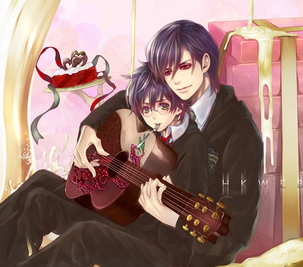 Tags: Anime, Flayu, Harry Potter, Tom Marvolo Riddle, Harry Potter (Character), Voldemort, Between Legs, Cream, Emblem, Playing Guitar, Playing, Gryffindor House, Death Eaters