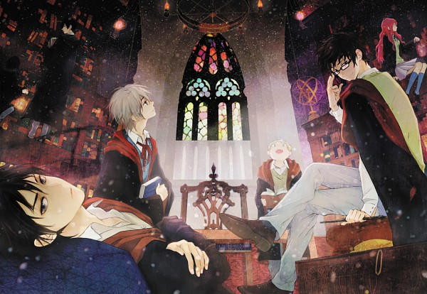 Tags: Anime, Pixiv Id 883680, Harry Potter, Peter Pettigrew, Severus Snape, Lily Evans, James Potter, Remus Lupin, Regulus Black, Sirius Black, Head Up, Stained Glass, Fanart