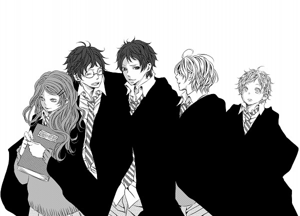 Tags: Anime, Pixiv Id 1859761, Harry Potter, James Potter, Remus Lupin, Sirius Black, Peter Pettigrew, Lily Evans, PNG Conversion, Marauders, Gryffindor House