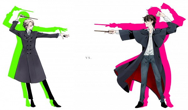 Tags: Anime, Pixiv Id 1054708, Harry Potter, Harry Potter (Character), Draco Malfoy, Rivals, Aiming At Another, VS, Pixiv, Fanart, Gryffindor House, Slytherin House