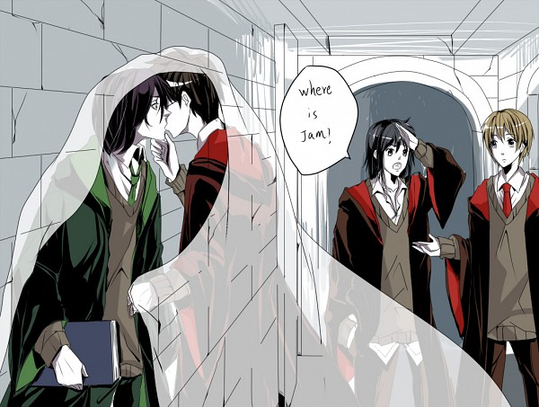 Tags: Anime, Pixiv Id 501581, Harry Potter, Severus Snape, James Potter, Remus Lupin, Sirius Black, V-neck, Stone Wall, Writing Error, Fanart, Marauders, Gryffindor House