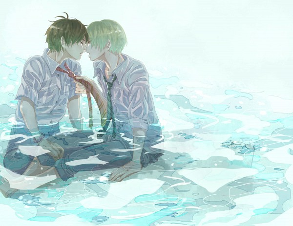 Tags: Anime, Senbaturuko, Harry Potter, Draco Malfoy, Harry Potter (Character), Sitting In Water, Wet In Water, Grabbing Tie, Gryffindor House, Slytherin House