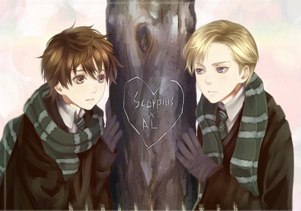 Tags: Anime, Flayu, Harry Potter, Albus Severus Potter, Scorpius Malfoy, Joven, Text: Couple Name, Slytherin House