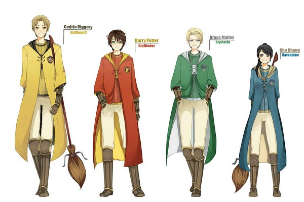 Tags: Anime, Lynneh, Harry Potter, Harry Potter (Character), Cedric Diggory, Cho Chang, Draco Malfoy, Yellow Outerwear, Red Coat, Quidditch Uniform, Emblem, Quidditch, PNG Conversion