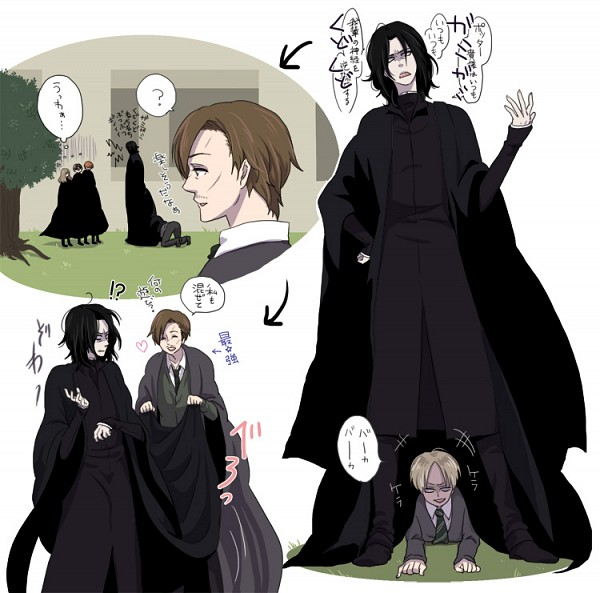 Tags: Anime, Pixiv Id 880483, Harry Potter, Ron Weasley, Draco Malfoy, Remus Lupin, Harry Potter (Character), Severus Snape, Hermione Granger, Hiding, Translation Request, Fanart, Pixiv