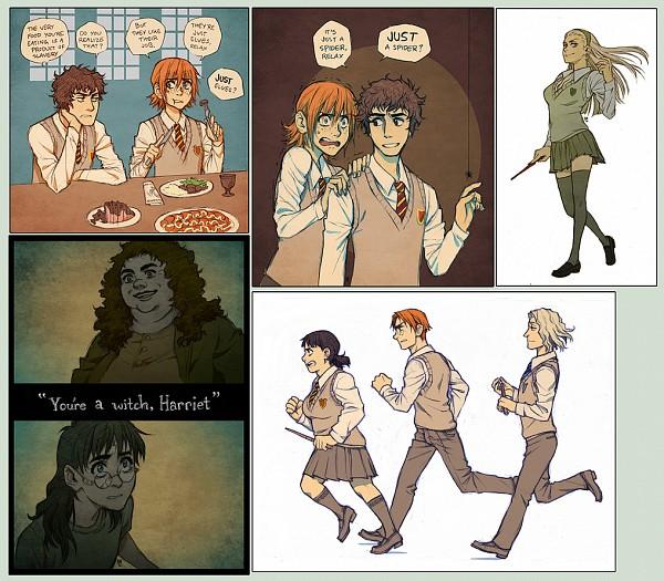 Tags: Anime, Maaria, Harry Potter, Draco Malfoy, Harry Potter (Character), Neville Longbottom, Luna Lovegood, Rubeus Hagrid, Ginny Weasley, Hermione Granger, Ron Weasley, V-neck, Fanart