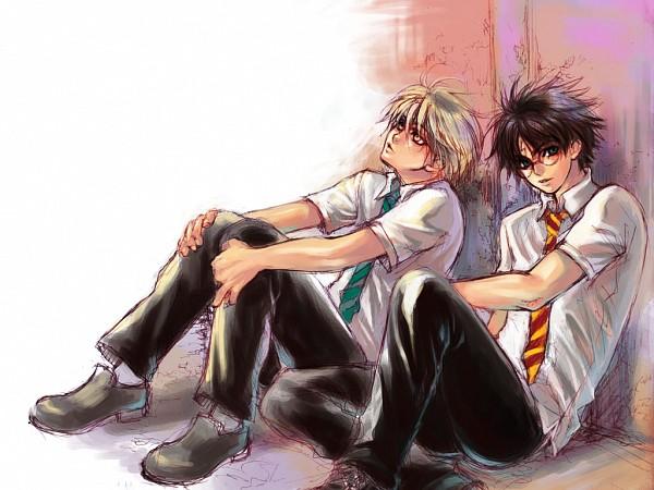 Tags: Anime, Kappauka, Harry Potter, Harry Potter (Character), Draco Malfoy, Wallpaper, Fanart, deviantART, Sketch