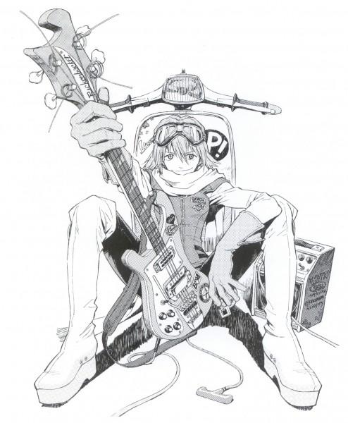 Tags: Anime, Yoshiyuki Sadamoto, FLCL, Carmine (Artbook), Haruhara Haruko, Bass Guitar, Official Art, Scan