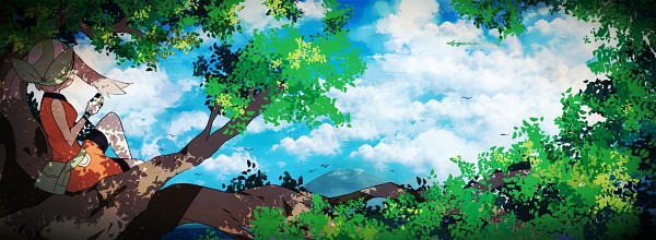 Tags: Anime, Yoneda, Pokémon SPECIAL, Pokémon, Rayquaza, Haruka (Pokémon), Banner, Legendary Pokémon, Wallpaper, May (pokémon)