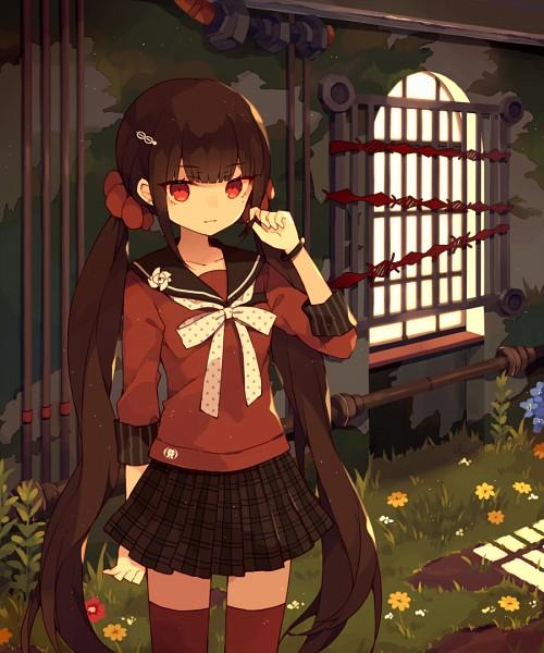 Tags: Anime, Pixiv Id 2798537, New Danganronpa V3, Harukawa Maki, Spotted Neckwear, Fanart From Pixiv, PNG Conversion, Pixiv, Fanart