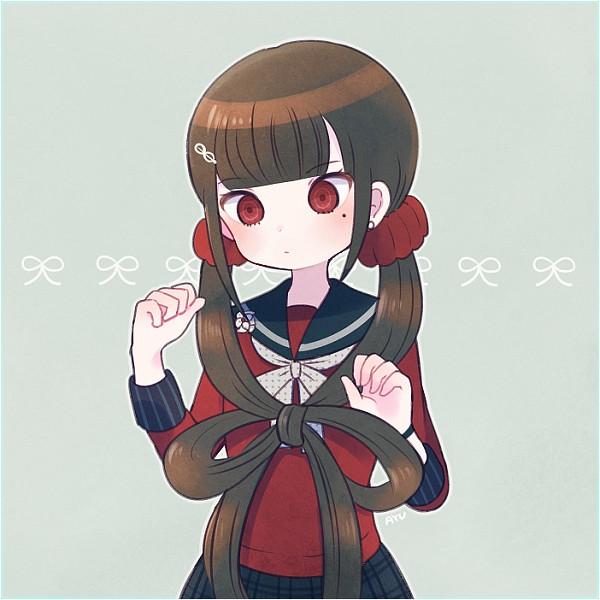 Tags: Anime, Ayu, New Danganronpa V3, Harukawa Maki, Spotted Neckwear, PNG Conversion, Pixiv, Revision, Fanart, Fanart From Pixiv