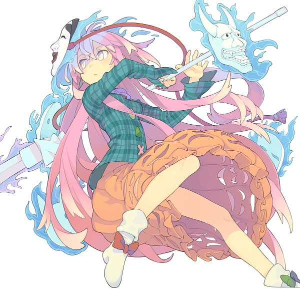 Tags: Anime, Morino Hon, Touhou, Hata no Kokoro, Teal Shirt, Orange Skirt, PNG Conversion, Twitter, Fanart