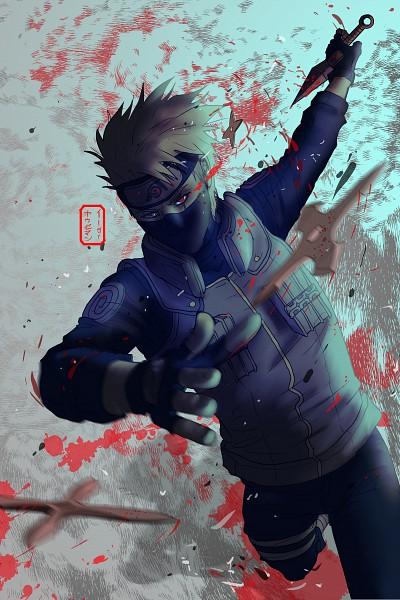 Tags: Anime, Invisibleninja12, NARUTO, Hatake Kakashi, Shuriken, Fanart, Pixiv, Mobile Wallpaper, Fanart From Pixiv