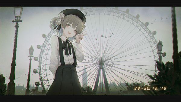 Tags: Anime, Pixiv Id 23945843, Hatoba Tsugu (Channel), Hatoba Tsugu, Light Pole, Park, Ferris Wheel