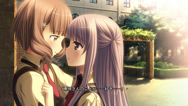Tags: Anime, Purple Software, Hatsukoi Sacrament, Yazaki Hoshimi, Kasugai Iroha, School Building, Wallpaper