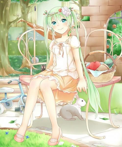 Tags: Anime, Sakakidani, VOCALOID, Hatsune Miku, Tricycle, Wreath