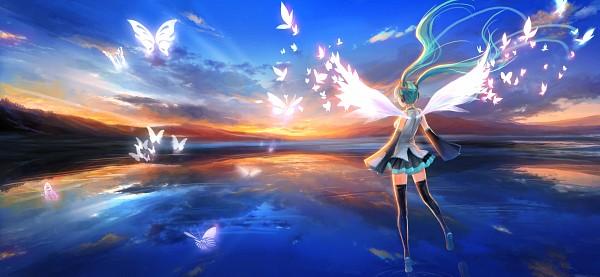 Tags: Anime, pcw, VOCALOID, Hatsune Miku, 1680x1050 Wallpaper, Walking On Water, Fanart From Pixiv, HD Wallpaper, Fanart, Facebook Cover, Pixiv, Wallpaper