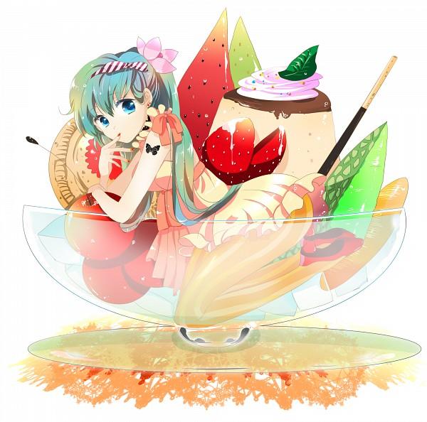 Tags: Anime, Marirero A, VOCALOID, Hatsune Miku, Pudding