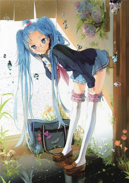 Tags: Anime, Anmi, VOCALOID, Hatsune Miku, Porch, Forehead, Morning Glory, Gym Bag, Weeds, Key Chains, Mobile Wallpaper, Scan