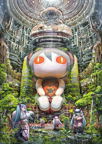 Tags: Anime, Shirakaba, VOCALOID, Aimaina, Hatsune Miku, Space Suit, Statue, Shrine, Mobile Wallpaper
