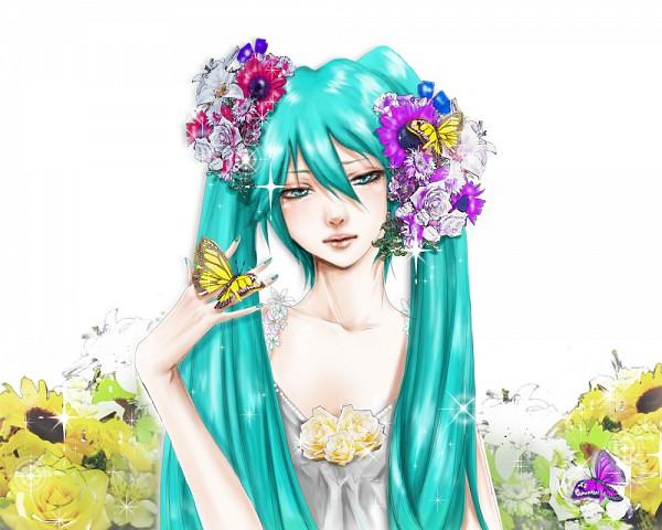 Tags: Anime, Erichika, VOCALOID, Hatsune Miku, Animal on Hand, 1000x800 Wallpaper, Butterfly on Hand, Pixiv, Fanart From Pixiv, Fanart