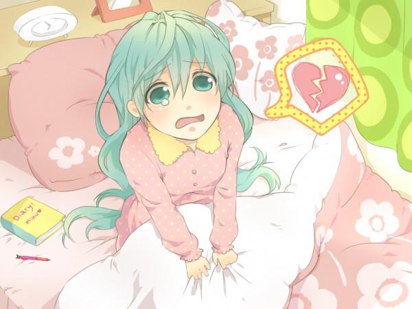 Tags: Anime, Buuta, VOCALOID, Hatsune Miku, Broken Heart, Diary, LOL -lots of laugh-, Pixiv, Fanart