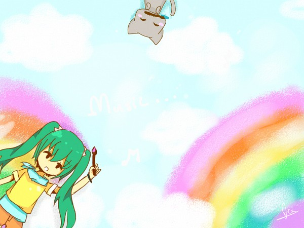 Tags: Anime, VOCALOID, Hatsune Miku, Painting (Action)