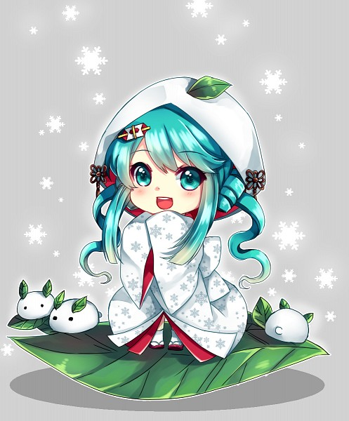 Tags: Anime, Arakunae, VOCALOID, Hatsune Miku, Shiromuku, Snow Rabbit, Leaf On Head, Object On Head, Yuki Design, Pixiv, Yuki Design 2013