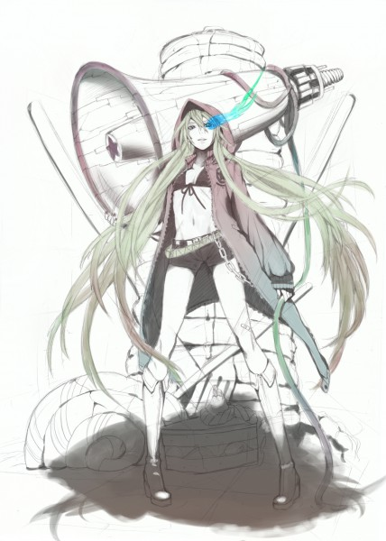 Tags: Anime, nayu, VOCALOID, Hatsune Miku, Black★Rock Shooter (Cosplay), Pixiv, Mobile Wallpaper, Love is War, Song-Over