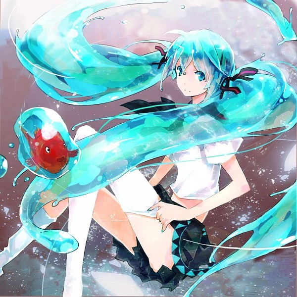 Tags: Anime, Zhuxiao517, VOCALOID, Hatsune Miku, Adjusting Legwear, Loose Footwear, Transparent Hair, Pixiv, Bottle Design