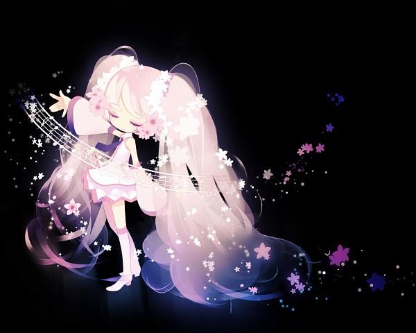 Tags: Anime, Petit Devil, VOCALOID, Hatsune Miku, Music Staff, Wallpaper, Sakura Design, Pixiv