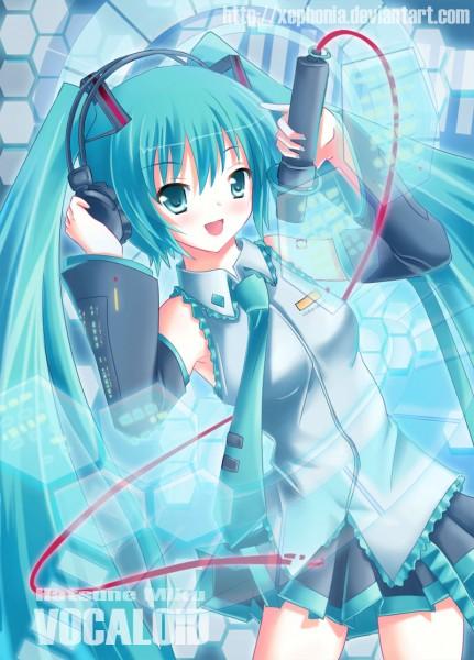 Tags: Anime, Xephonia, VOCALOID, Hatsune Miku, Hand on Headphones, Fanart From DeviantART, Fanart, deviantART