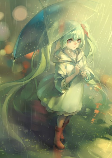 Tags: Anime, ayaka322, VOCALOID, Hatsune Miku, Transparent Object, See Through Umbrella, Pixiv, Mobile Wallpaper