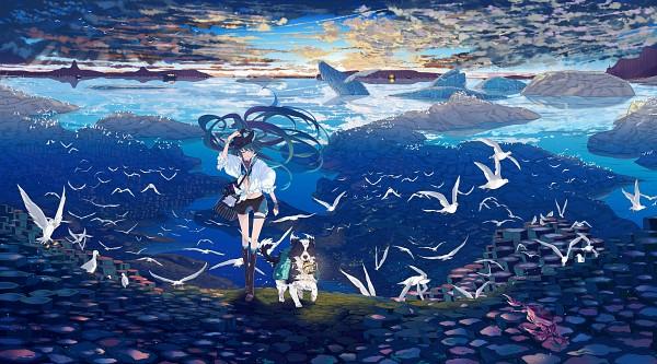 Tags: Anime, Pixiv Id 2993882, VOCALOID, Hatsune Miku, Whale, Boat, Pixiv, HD Wallpaper, Fanart, Facebook Cover, Wallpaper, Fanart From Pixiv
