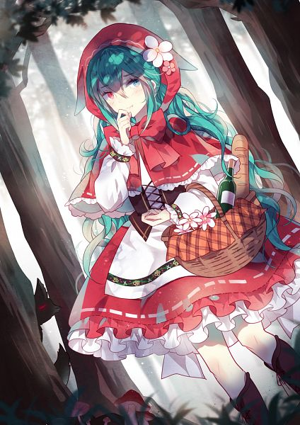 Tags: Anime, Domotolain, VOCALOID, Hatsune Miku, Red Riding Hood (Cosplay), Mobile Wallpaper
