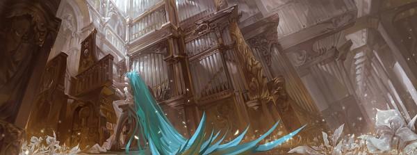 Tags: Anime, Alcd, VOCALOID, Hatsune Miku, Organ (Instrument), Facebook Cover, Wallpaper, Fanart From Pixiv, Fanart, HD Wallpaper, Pixiv