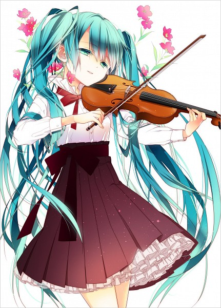 Tags: Anime, Naoto (Tulip), VOCALOID, Hatsune Miku, Playing Violin, Mobile Wallpaper, Pixiv, Revision, Fanart, Fanart From Pixiv
