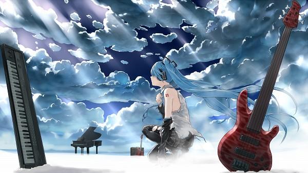Tags: Anime, Bob (Biyonbiyon), VOCALOID, Hatsune Miku, Bass Guitar, Fanart, HD Wallpaper, Pixiv, Facebook Cover, Wallpaper, Fanart From Pixiv